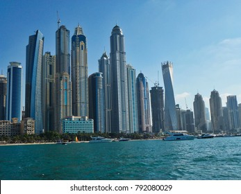 View of Dubai skyline over Dubai Marina.