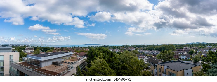 View at Dublin Bay and house rooftops in Blackrock Dublin