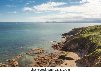 View of Dublin Bay from Howth Head near Dublin, Ireland. Bray Head can be seen in the distance.