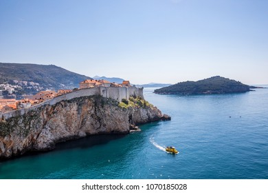 View of Dubrovnik old town and Lokrum shot from Lovrijenac Fortress