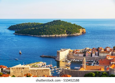 View of Dubrovnik old town with Lokrum island
