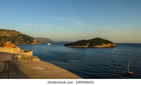 View from Dubrovnik walls: Lokrum Island and Adriatic Sea