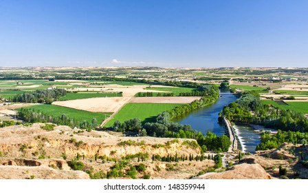 View of duero river and vicinity in the village of Toro
