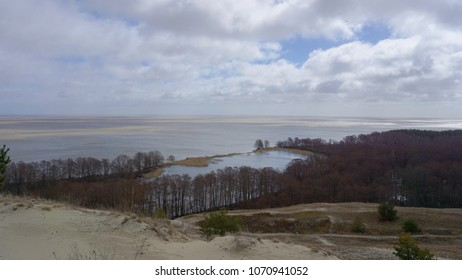 View of dunes, forest and Baltic Sea. Curonian Spit