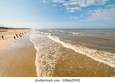 View of the dunes in Nida, Lithuania. A popular destination in Europe in Lithuania. Beaches and huge dunes covering the end of the Curonian Spit are included in the UNESCO World Heritage Site