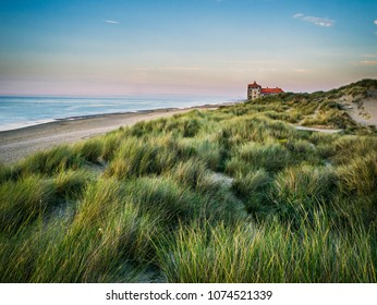 View from the dunes towards the beachfront building in Bray-Dunes in northern France
