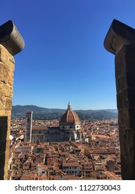 view of the Duomo of Florence from the Vecchio palace tower