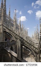 A view of the duomo, the gothic cathedral of Milan, Italy