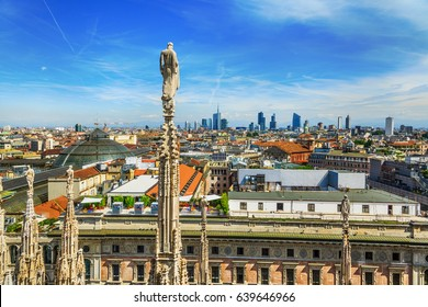 View from Duomo roof in Milan closeup