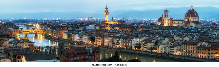 View of Duomo, vecchio bridge, and rest of florence ontop of Michelangelo plaza. Panoramic view