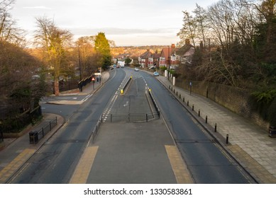 The View of Durham Road in Sunderland from the Pedestrian Bridge outside of Sunderland College