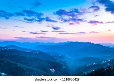 View during sunset from Mall road of Shimla, Himachal Pradesh, India.