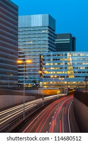 View at a Dutch highway in The Hague during the evening
