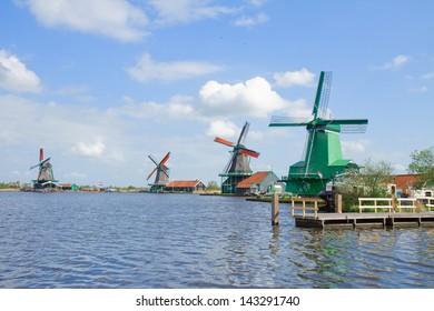 view of dutch windmills in Zaanse Schans, Holland