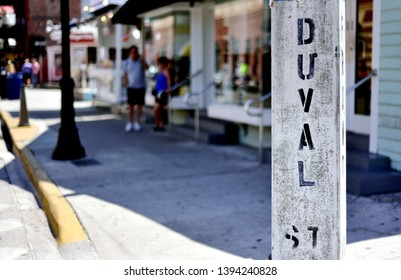 A view of Duval Street in Old Town Key West, Florida, with very shallow depth of field.