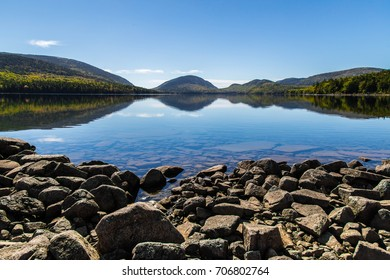 A view of Eagle Lake which is the largest fresh water lake in Acadia National Park on Mount Desert Island in Maine.