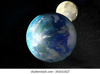 View of earth and moon. Elements of this image furnished by NASA
