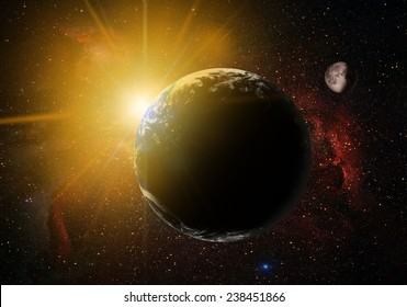 """view of Earth from outer space with millions of stars around it.""""Elements of this image furnished by NASA"""