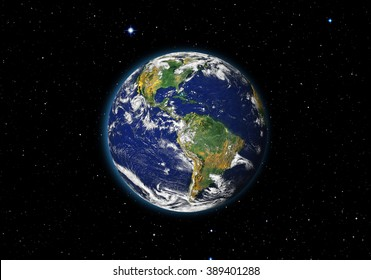 "View of Earth from outer space with millions of stars around it ""Elements of this image furnished by NASA"""