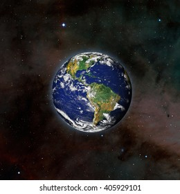 "view of Earth from outer space with millions of stars around it.""Elements of this image furnished by NASA"