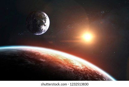 View of Earth planet from moon. Elements of this image furnished by NASA