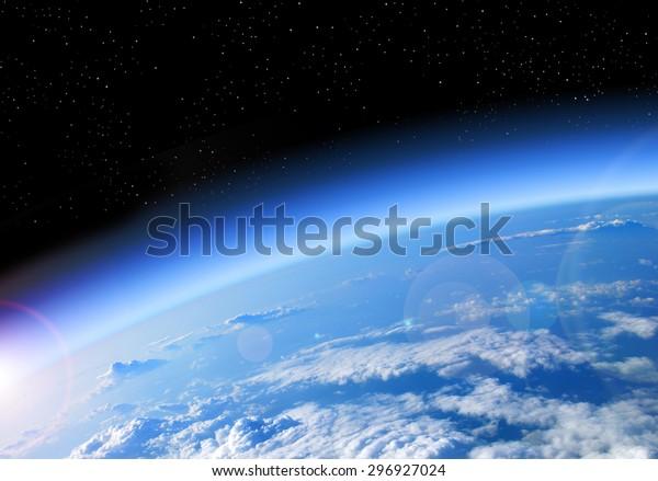 visión de la Tierra desde el espacio, el planeta azul y el espacio negro profundo