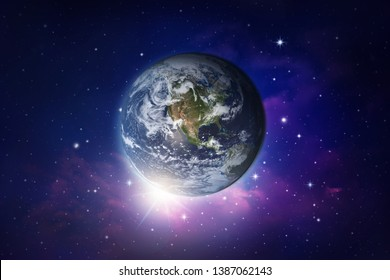 View of Earth, sun, star and galaxy.Elements of this image furnished by NASA.