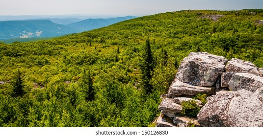 View east of the Appalachians from Bear Rocks, in the high Allegheny Mountains of Dollys Sods Wilderness, Monongahela National Forest, West Virginia.