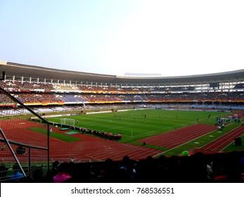 View of East Bengal Gallery in Salt lake stadium aka Vivekananda Yuba Bharati Krirangon in kolkata during Derby football match between East Bengal and Mohun Bagan on 3.12.2017