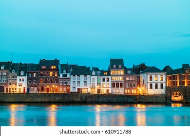 View at the east side of the city of Maastricht with the river Maas in front, The Netherlands