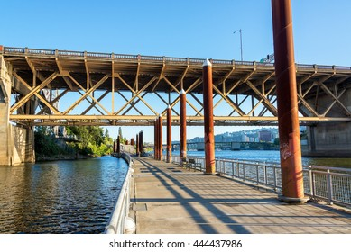 View of the Eastbank Esplanade on the Willamette River in Portland, Oregon