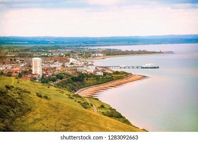 View of Eastbourne from Beachy Head, East Sussex, England