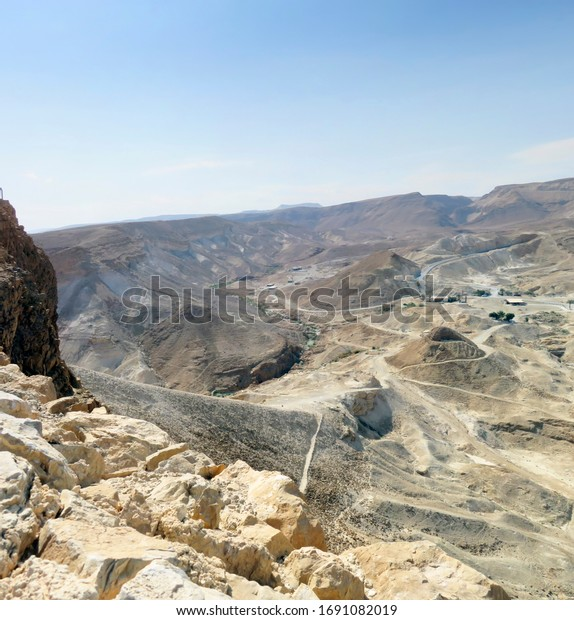 View from eastern Masada observation platform to ancient catchment area
