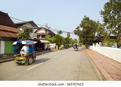 view of easy going relax Luang Prabang streets, Laos