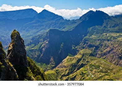 A view from the edge of the caldera of Maïdo looking into the Mafate area on Reunion Island