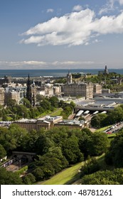 View of Edinburgh, capital of Scotland, on a sunny day