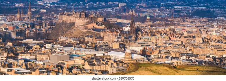 View of Edinburgh Castle at sunrise with the UNESCO Heritage recognized old town in the foreground. Edinburgh, Scotland, United Kingdom