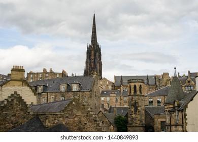 View of Edinburgh Old Town from Greyfriars Kirkyard