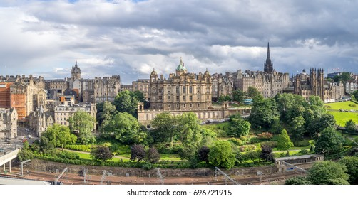 A view to Edinburgh Old Town from Princes Street Edinburgh