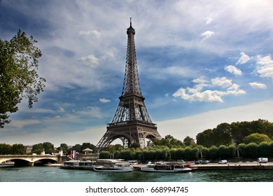 View of Eiffel Tower across the RIver Seine