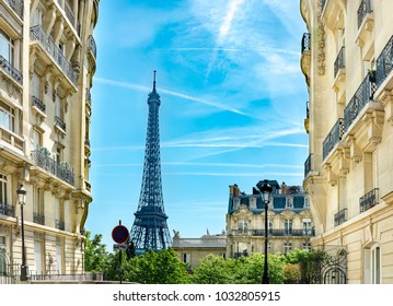 View of the Eiffel Tower from the Avenue de Camoens of in paris, france