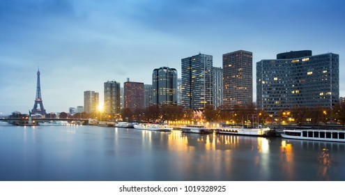 View of Eiffel tower, Beaugrenelle district and Seine river in Paris, France
