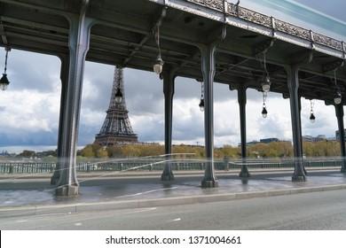 View of Eiffel tower and Bir Hakeim bridge in Paris, France