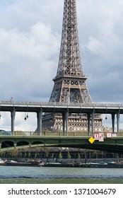 View of Eiffel tower and Bir Hakeim bridge in Paris