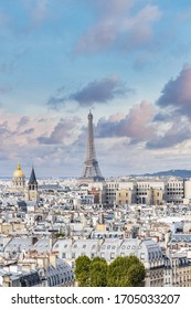 View of the Eiffel Tower and the city of Paris.