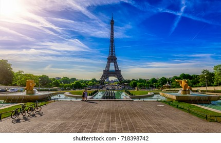 view of Eiffel Tower from Jardins du Trocadero in Paris, France. Eiffel Tower is one of the most iconic landmarks of Paris. Architecture and landmarks of Paris. Postcard of Paris