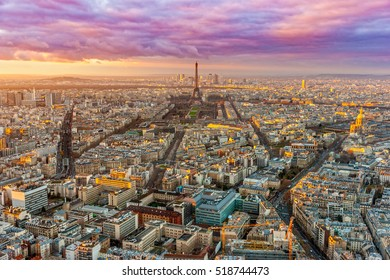 View of the Eiffel tower and Les Invalides at sunset from Tour Montparnasse, Paris.