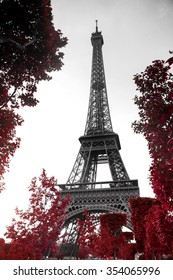 View of Eiffel tower in monochrome style with selective colorization