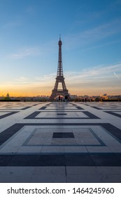A view of Eiffel Tower with morning light from Palais de Chaillot in Paris, France