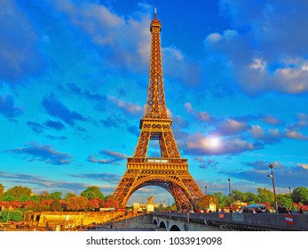 view of the Eiffel tower on a bright sunny day. Famous tourist place.